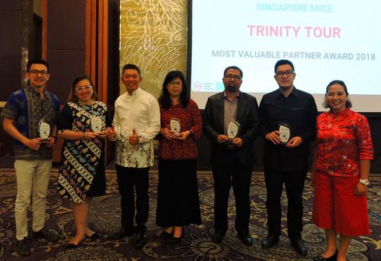 STB Indonesia memberikan penghargaan terhadap  Agen perjalanan Indonesia terbaik atas upaya dan kontribusinya dalam mengirim grup Meeting dan Incentives ke Singapura di 2018